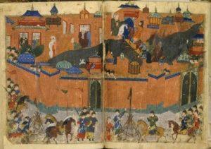 শিল্পীর কল্পনায় মঙ্গোলদের বাগদাদে আক্রমণ