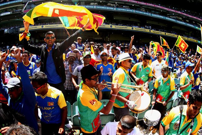 A papare band keeping the party going in the stands Image Credit: cricketmonthly.com