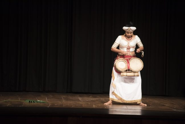 Sithara Maduwanthi belongs to Sri Lanka's first all-female drum ensemble, Thuuryaa. Image credit: Malaka MP for Goethe-Institut Sri Lanka