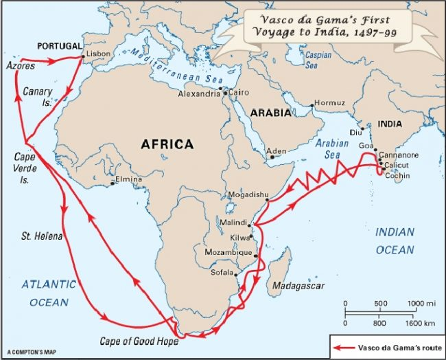 The Route taken by Vasco De Gama to India. Image courtesy: justalittlefurther.com