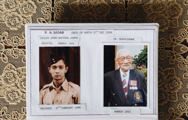 Corporal B. A. Sadar, then and now. Image credit: Roar.lk/Minaali Haputantri