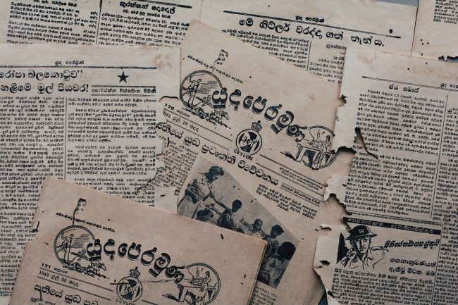 Yudhaperamuna ('The Frontline') was a series of newsletters and pamphlets that served as wartime propaganda to be distributed among the public. Image credit: Roar.lk/Minaali Haputantri