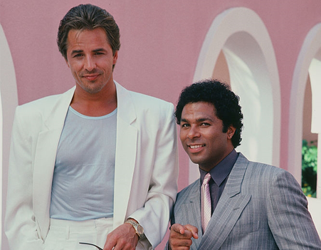 Don Johnson and Philip Michael Thomas in a promo shoot for Miami Vice. Credit: Getty Images.