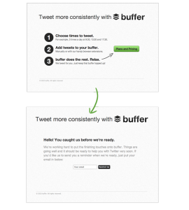 The two page, barebones MVP (Minimum Viable Product) used by Buffer to validate their idea. Image credit: Joel Gascoigne, Buffer