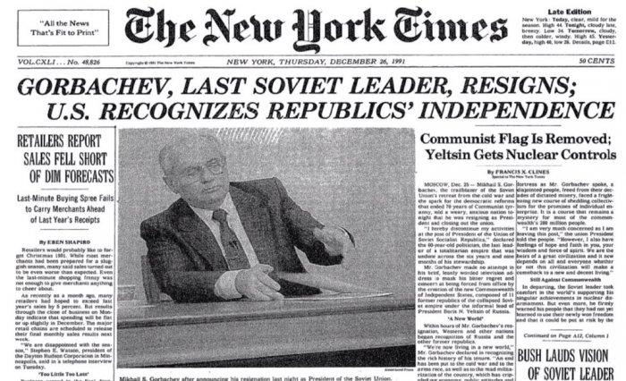 নিউ ইয়র্ক টাইমস পত্রিকায় সোভিয়েত ইউনিয়নের পতনের খবর; image source: nytimes.com